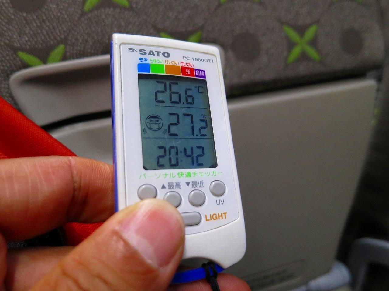 モノレール内と飛行機内の温湿度