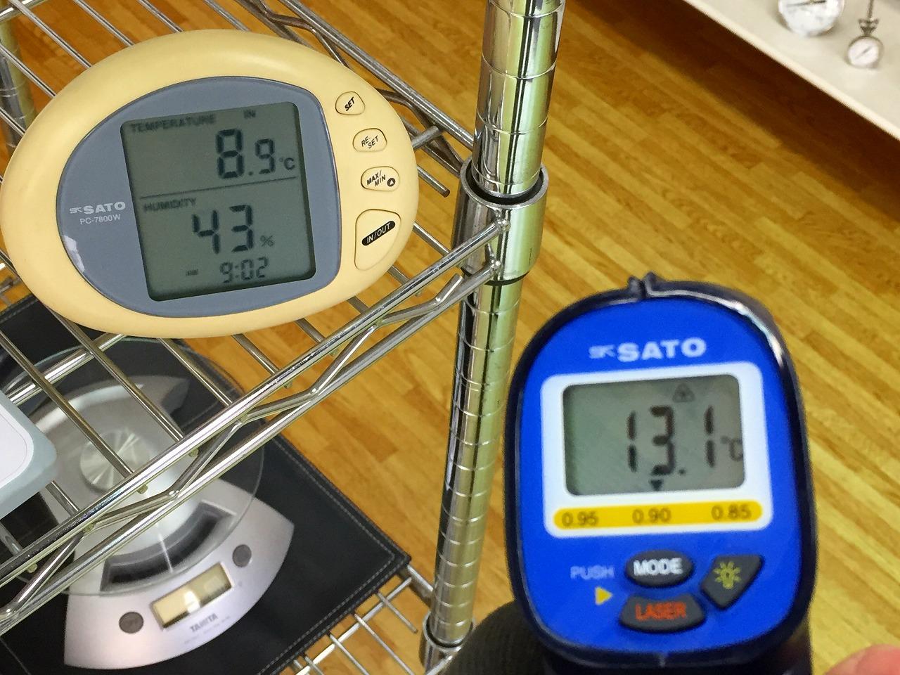 はかりや店内の温湿度 床の表面温度