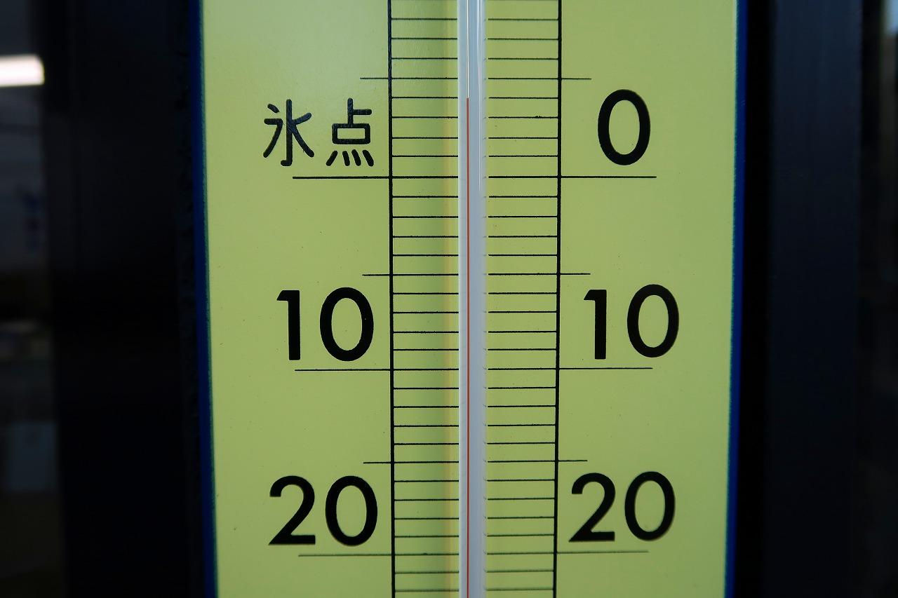 2018.2.13 はかりや店頭の寒暖計は、4℃
