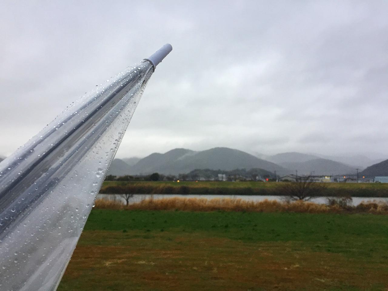 今朝の金峰山 横殴りの雨で傘がさせませんでした!