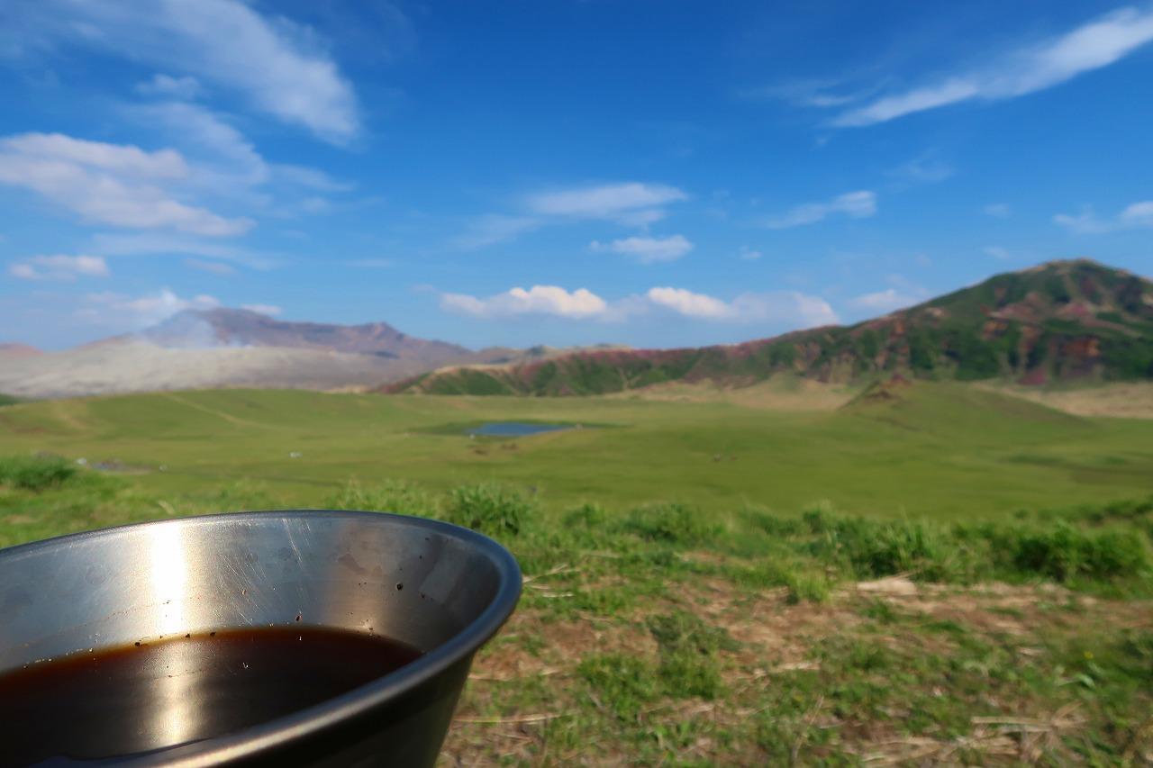 草千里でコーヒー