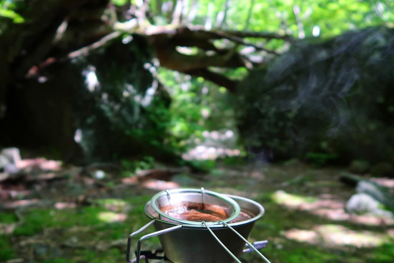 黒岳 風穴でコーヒー