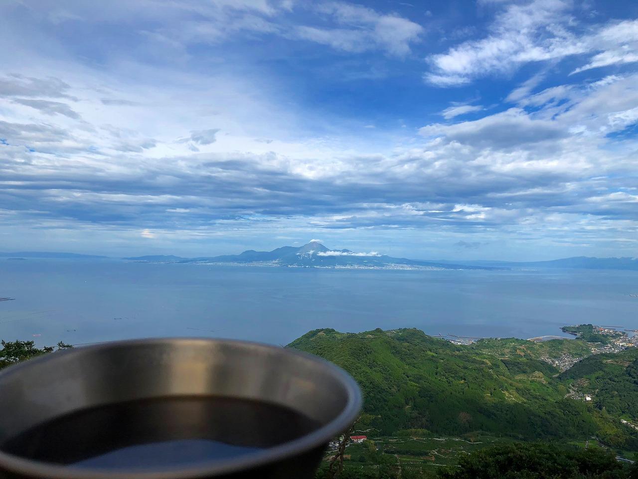 金峰山山頂でコーヒー