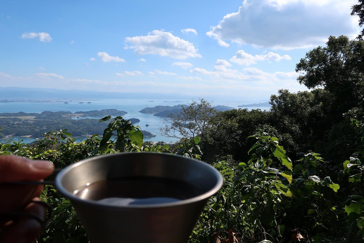 三角岳でコーヒー