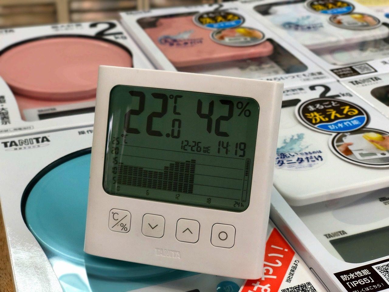 2018.12.26温度変化のグラフ TT-581 グラフ付きデジタル温湿度計