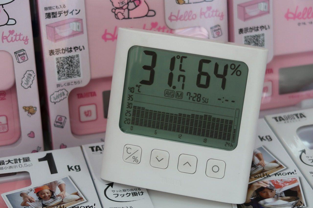 タニタ TT-581 グラフ付きデジタル温湿度計  2019.7.28温度グラフ