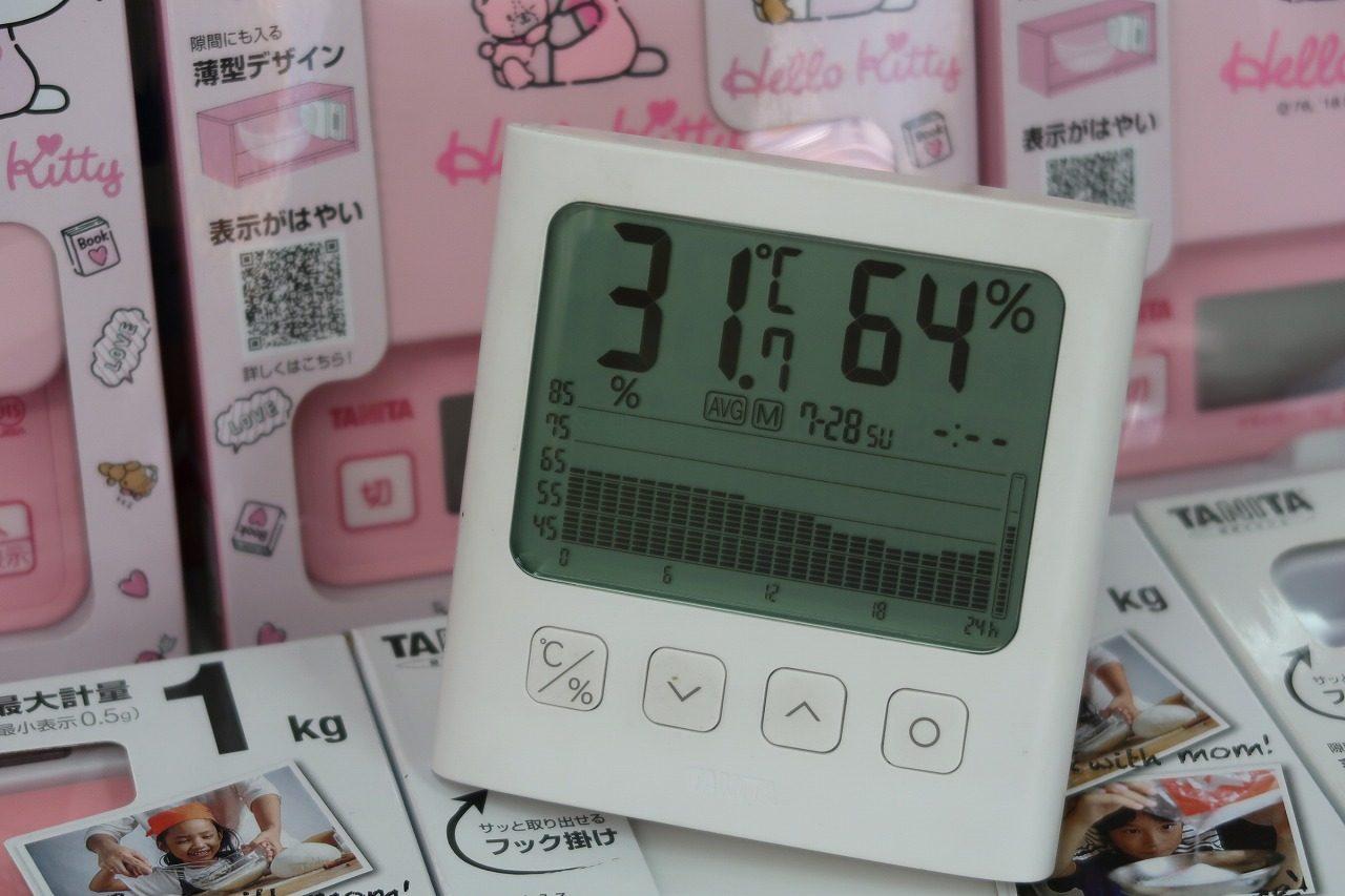 タニタ TT-581 グラフ付きデジタル温湿度計  2019.7.28湿度グラフ