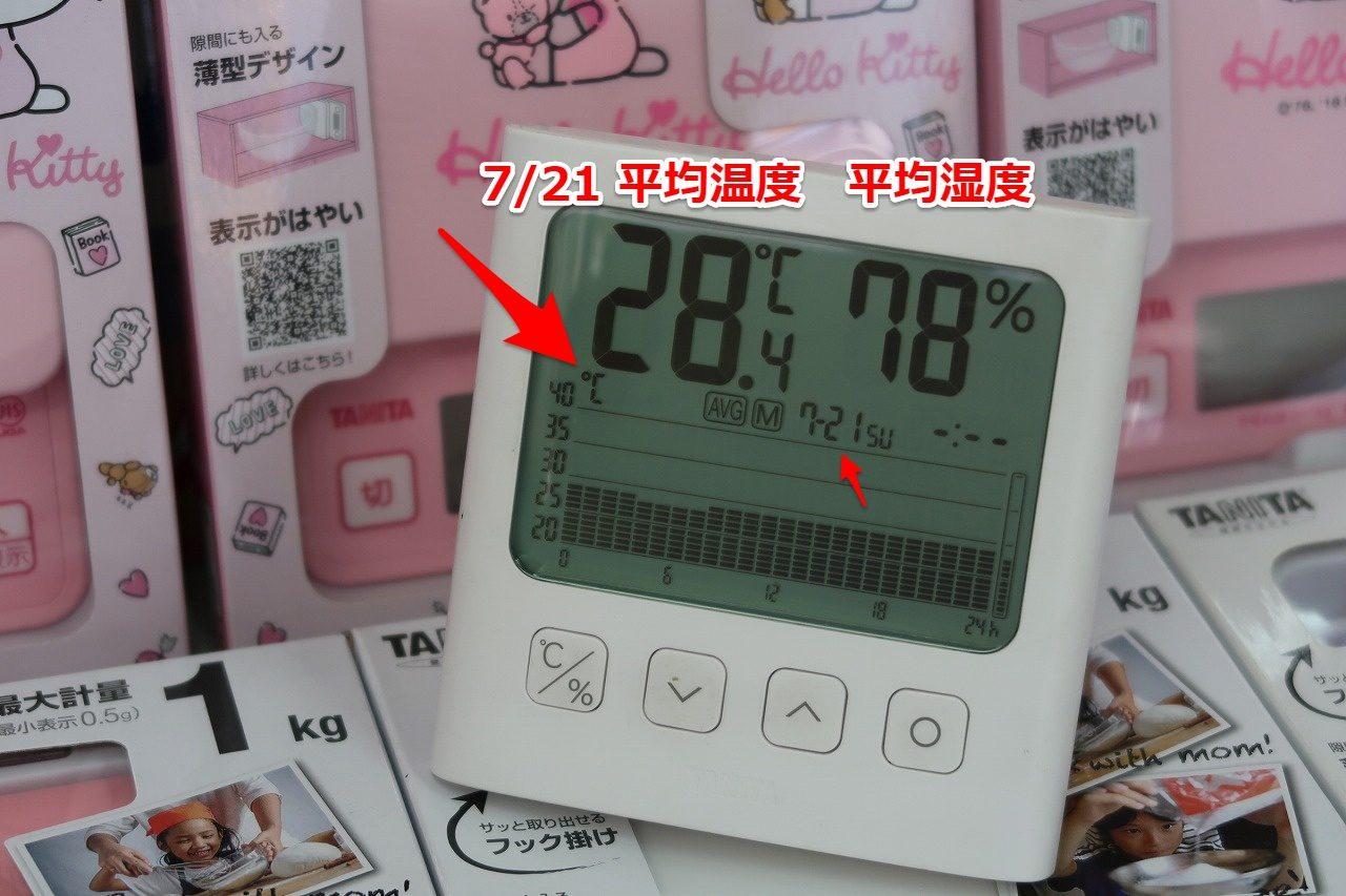 タニタ TT-581 グラフ付きデジタル温湿度計  2019.7.21温度グラフ