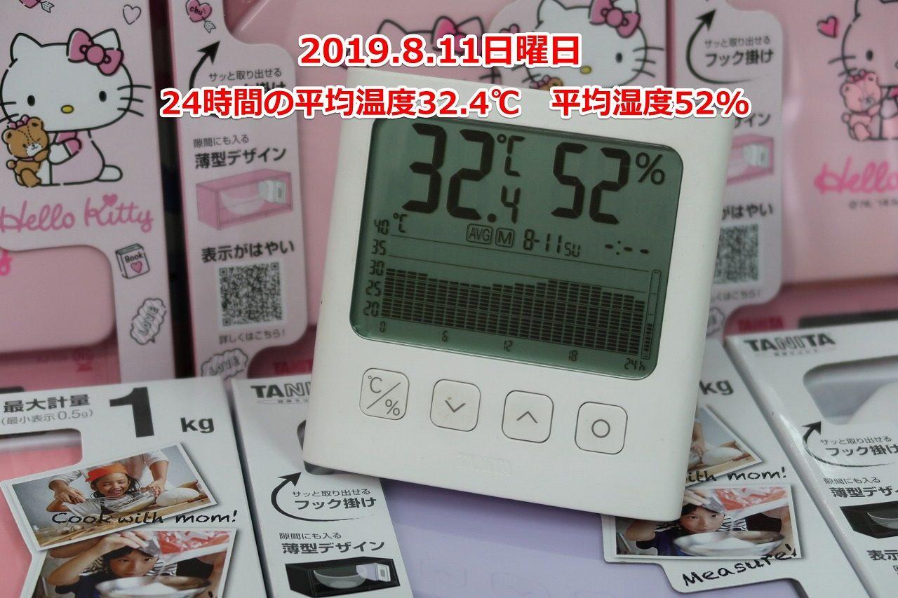 2019/8/11はかりや店内の温度グラフ TT-581グラフ付きデジタル温湿度計