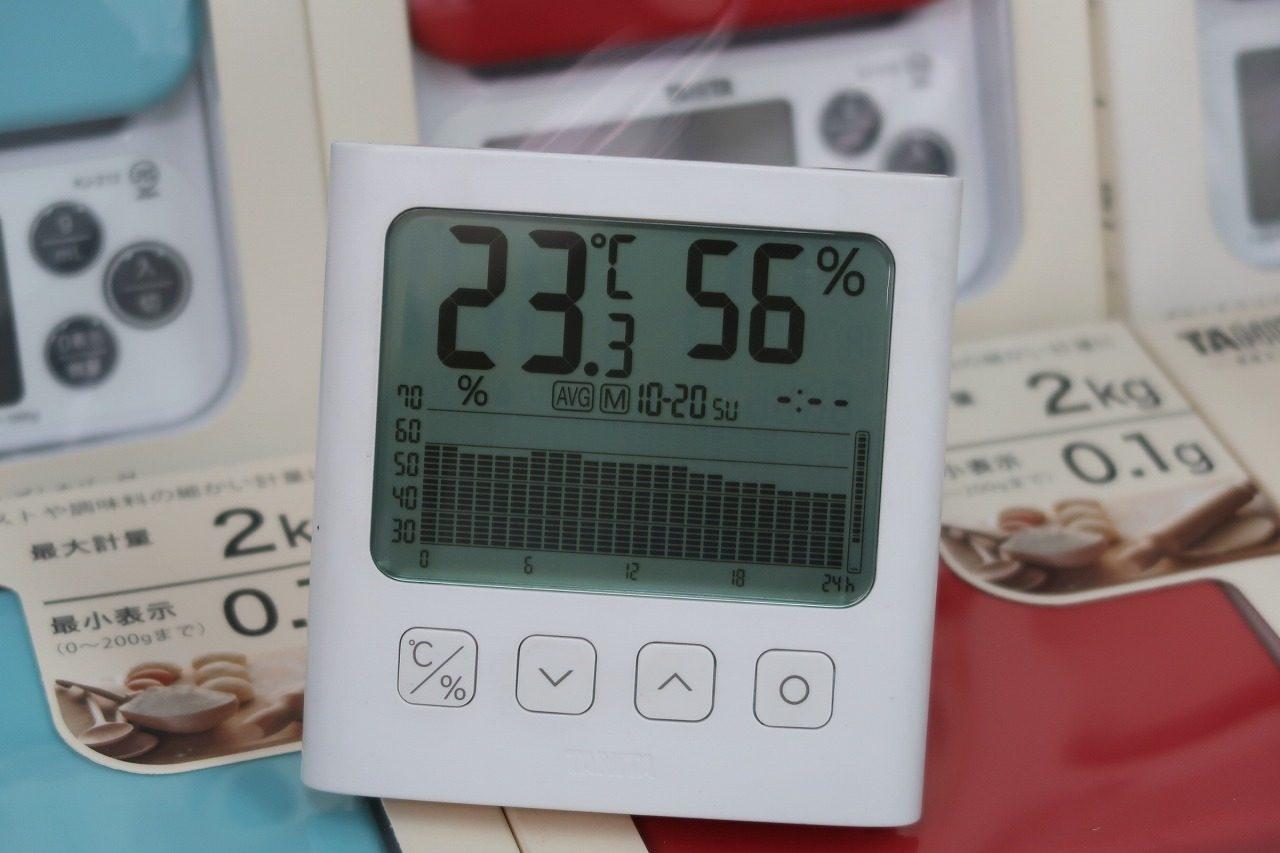 タニタTT-581グラフ付きデジタル温湿度計 はかりや2019.10.20湿度のグラフ