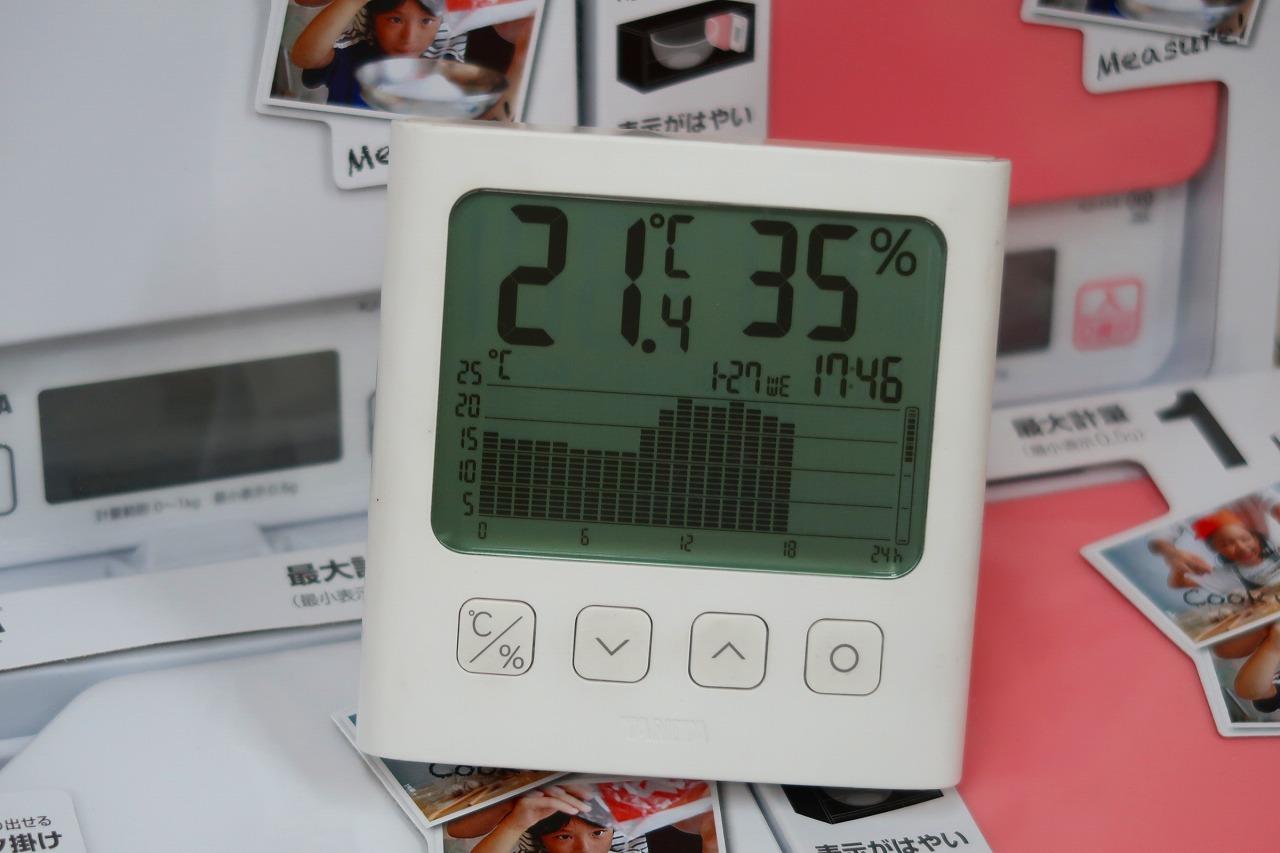 TT-581グラフ付きデジタル温湿度計 2021.1.26 はかりや店内 温度のグラフ
